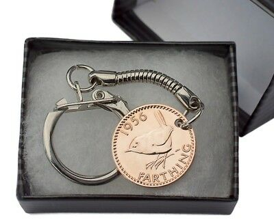 Coin Keyring - British Farthing Key Ring Choice Of Year 1911-1956 Birthday