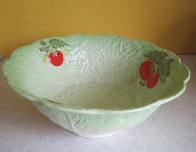Lovely Large Vintage Crown Devon Cabbage Ware Bowl 23cm Green And Red