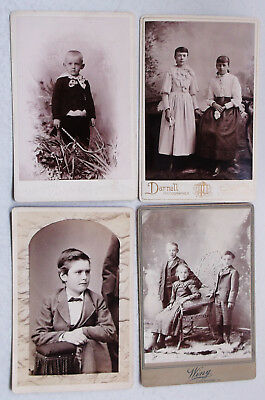 Nice Lot Of 4 Antique Cabinet Photos Beautiful Fashionable Victorian Children