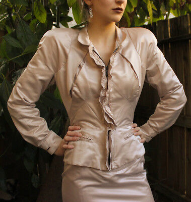 STUNNING $1200 YSL YVES SAINT LAURENT avant garde Dusty Silk jacket/skirt Suit S