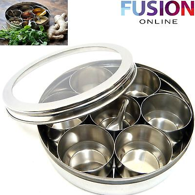 Masala Spices Storage Box Indian 7 Spice Tin Box Tandoori Stainless Steel Dabba
