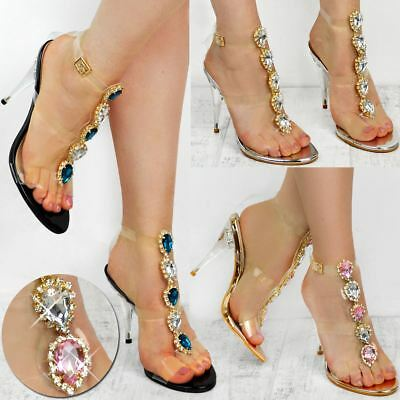86080e315bf4 High Heel Party Sandals Jewel Diamante Embellished Perspex Prom Wedding  Size UK