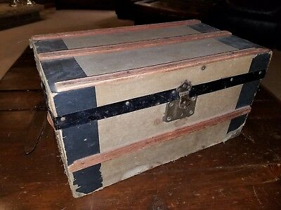 Vintage Antique Child's Doll Wood Trunk Steamer with tray