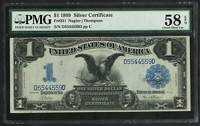 Fr231 $1 1899 S/c Napier / Thompson Pmg 58 Epq Choice Au Very Rare Type Wlm5095