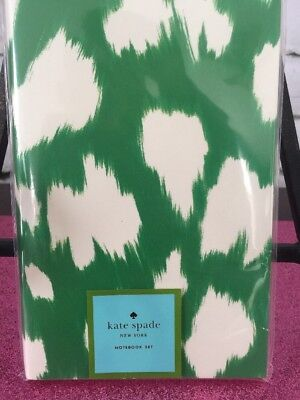 Kate Spade Nip Notebook Set Painterly Cheetah 80 Pages Green