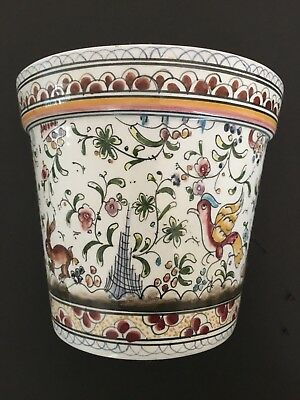 Coimbra Portugal Ceramic Wall Pocket Vase planter Hand Painted Signed