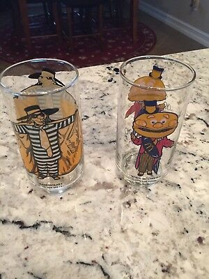 Vintage Ronald McDonald Drinking Glasses 1970's Hamburglar  and Mayor McCheese