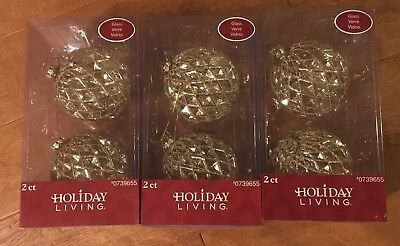 "Lot Of 6 4"" Holiday Living Gold Ornaments Christmas Decorating Sparkle"