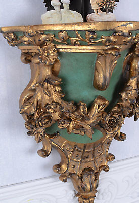 Wall Shelf Rococo Style Wall Console Wall Decoration Wood gilded patinated new