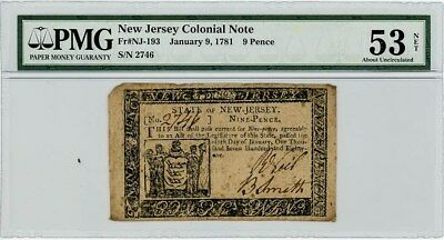 Fr. NJ-193 9 Pence New Jersey Colonial Note January 9, 1781 AU53 Net PMG