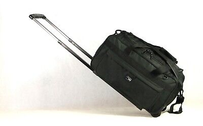 New Cabin-Size Heavy-Duty Water-Proof Rolling Duffel with Shoulder Strap, BLACK