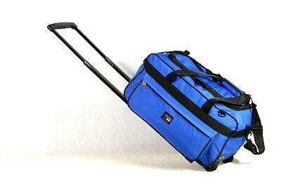 New Cabin-Size Heavy-Duty Water-Proof Rolling Duffel with Shoulder Strap, BLUE
