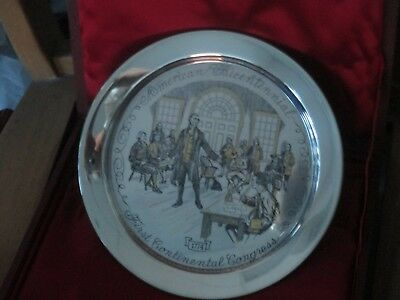"""Danbury Mint 24K On Sterling Silver First Continental Congress 1774 8"""" Plate"""