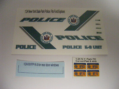 New York State Park Police 1/24 Waterslide Decal Set Fits Ford Explorer