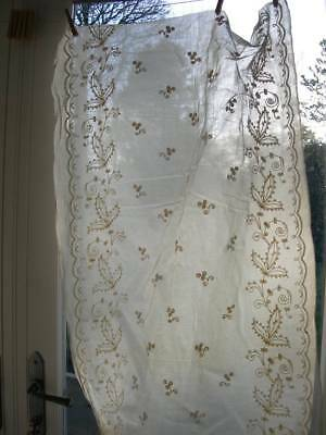 Rare antique French unused large bolt of Cornely embroidered fabric - curtains