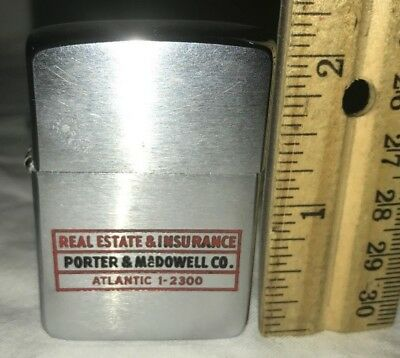 ANTIQUE ZIPPO LIGHTER VINTAGE REAL ESTATE INSURANCE PORTER MacDOWELL SMOKING OLD