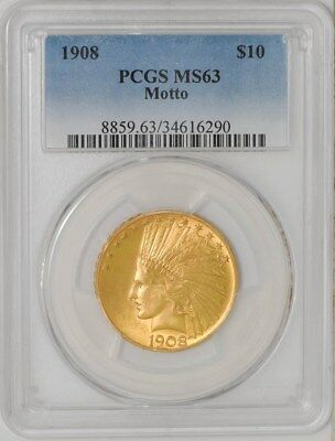 1908 $10 Gold Indian Motto MS63 PCGS