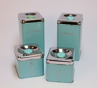 Lincoln BeautyWare mid century kitchen vintage canister turquoise chrome