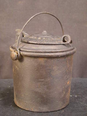 Antique 19c Landers Frary & Clark Cast Iron Inkwell Glue Pot Stove Bucket Pail~