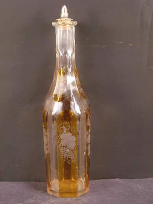 1800's Victorian Stained Cut to Clear French Bohemian Glass Liquor Barber Bottle
