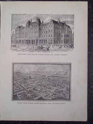 Chicago Post Office Union Stock Yard 1889 Old Antique Print