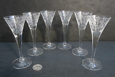 6 RARE CAMBRIDGE Elegant Glass ROSE POINT Etched 1oz Cordial Stems Goblets 7966