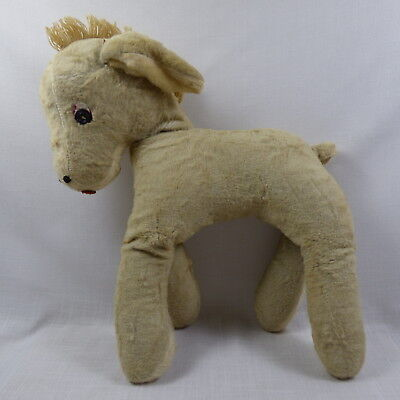 Early Folk Art Stuffed Toy Horse or Donkey Button Eyes Antique  NR