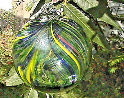 """Hanging Glass Ball 4"""" Clear Glass with Green, Yellow & Blue Swirls (1) HGB8-2"""