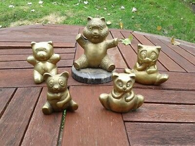 Vintage Brass Bears need good Home Lot of 5