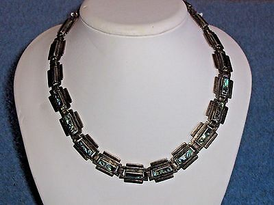 Vintage Taxco Sterling Silver And Abalone Shell Necklace Large Panel 67.9 Grams