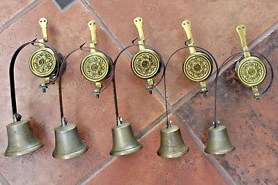 Antique Victorian Set Of 5 Brass Servant Call Bells Downton Abbey Maid Butler