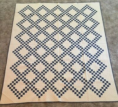 "Antique Quilt - ""Double Irish Chain"" , blue/off white, excellent condition!"