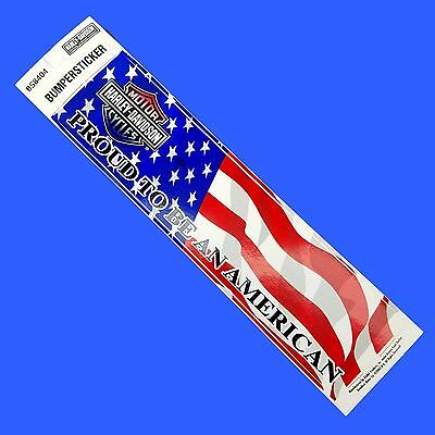NEW  ~ HARLEY DAVIDSON ~ Proud To BE An American ~  BUMPER STICKER 12 X 3 BS8404