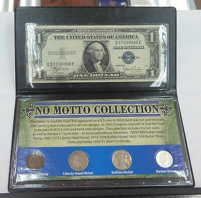 US No motto Collection 1935-C Silver Cert. Indian Cent  Nickels Barber Dime