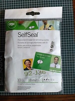 GBC SELF SEAL PREPUNCHED ID BADGE SIZE LAMINATING POUCHES  10 PACK  CLEAR  Clips
