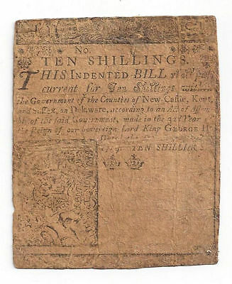 1759 Delaware Colonial Currency - Ten Shilling Note, Printed By Ben Franklin