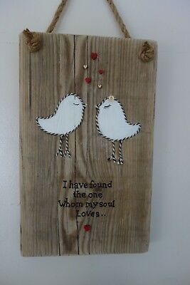 Rustic Wooden love birds Wall Plaque Sign wedding gift