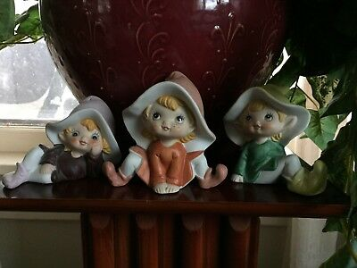 Vintage 1970's Set of 3 Homco 5213 Porcelain Ceramic Elf Elves Pixie Figurines