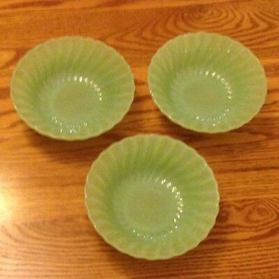 """Three Signed Anchor Hocking Fire-King Jadite 'Shell' 6 3/8"""" Cereal Bowls VG"""