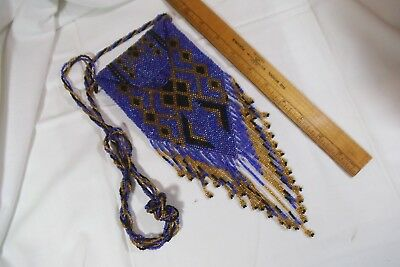 Hand Woven Art Deco Style Purse - Dark Iridescent Blue/Purple Glass Beads