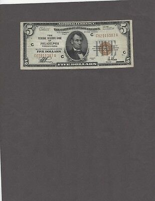 1929 $5.00 Fed. Res. Bank of Philadelphia Type I, VF