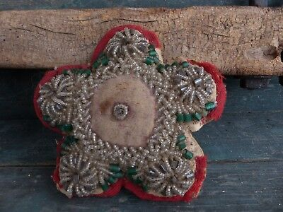 antique hand sewn pin cushion 19th century vermont folk art beaded star aafa