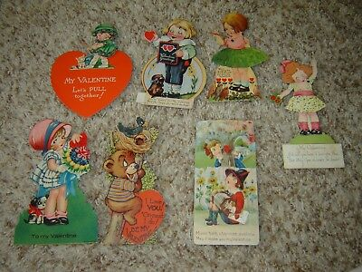 LOT V VINTAGE VALENTINE'S DAY MECHANICAL  CARDS large lot of 8