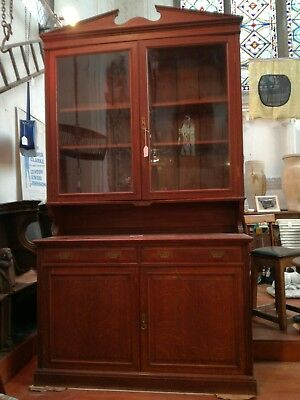 Impressive Early 20C Oak Cabinet with Original Glass