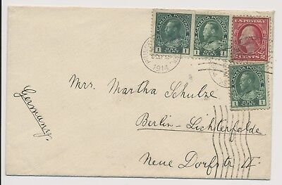 Canada 1914 Small letter to Berlin Germany with mixed stamps USA & Canada