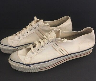 Vintage Bristol Park White Canvas Low Top Sneakers Shoes Size 11 Deadstock