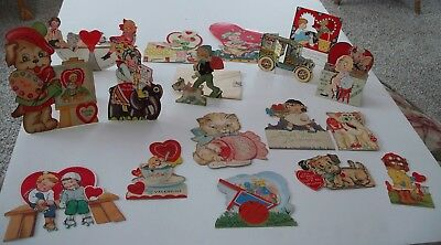 VINTAGE LOT OF 18 VALENTINE CARDS 1920s-40s Mechanical Fold out Stand up