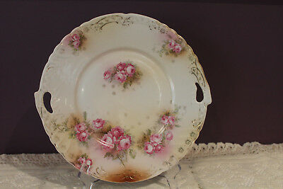 "Vintage Unmarked 10-1/2"" Serving Plate With Pierced Handles - Pink Rose Design"