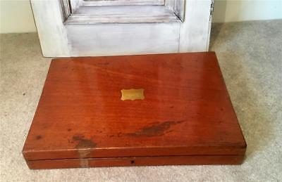 Antique Vintage Wooden Mahogany Brass Shield Cutlery Box For Restoration  c1900