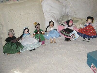 "Lot of 6 VINTAGE Madame Alexander International 8"" Dolls with Stands and Boxes"